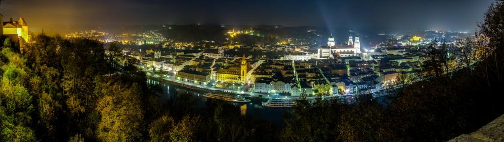 Blick vom Oberhaus auf Passau ende Oktober